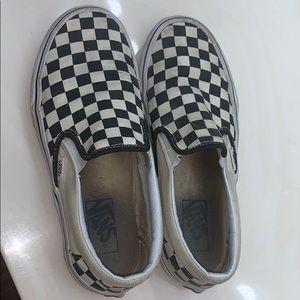 Trashed Checkered slip on vans